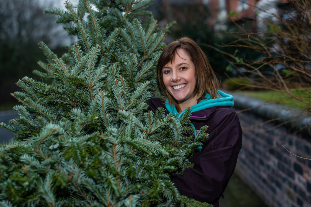 Charlotte Dowling volunteers at Birmingham St Mary's Treecycling photo by Aaron Scott Richards