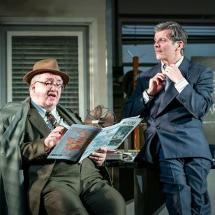Mark Benton (Shelley Levene) & Nigel Harman (Ricky Roma) Glengarry Glen Ross UK Tour Photo By Marc Brenner