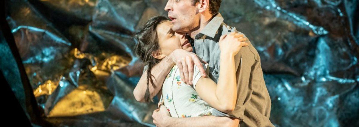 Alex Mugnaioni as Captain Corelli & Madison Clare as Pelagia in Captain Corelli's Mandolin photo by Marc Brenner
