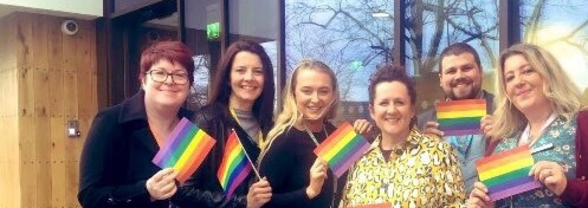 Members from each of the seven hospices who will be taking part in Birmingham Pride this year