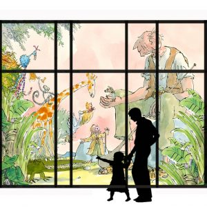 Impression of Roald Dahl stained glass window (with silhouette) to be housed at Birmingham Children's Hospital