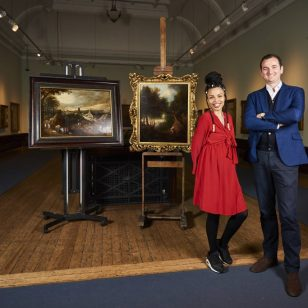 Dr Bendor Grosvenor and Emma Dabiri with Birmingham Museums Trust paintings  By Daniel Graves.